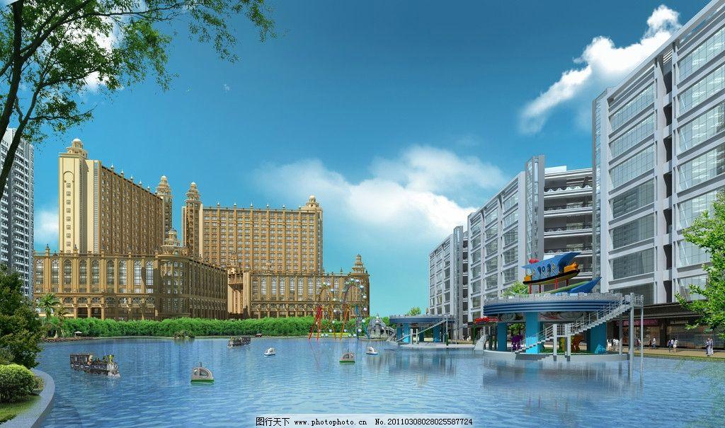 酒店 水池 树木 人物 船 楼房 建筑设计 环境设计 设计 15dpi jpg