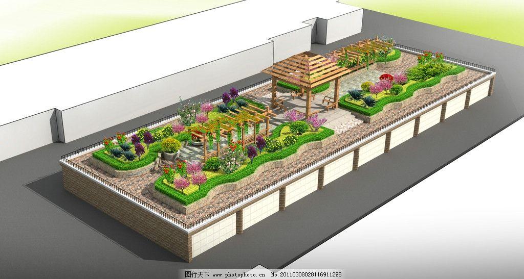 小区景观设计图 景观 绿化 鸟瞰图 效果图 空中花园 木制凉亭 花坛 石子路面 植物 空中花园景观 景观设计 环境设计 设计 72DPI JPG