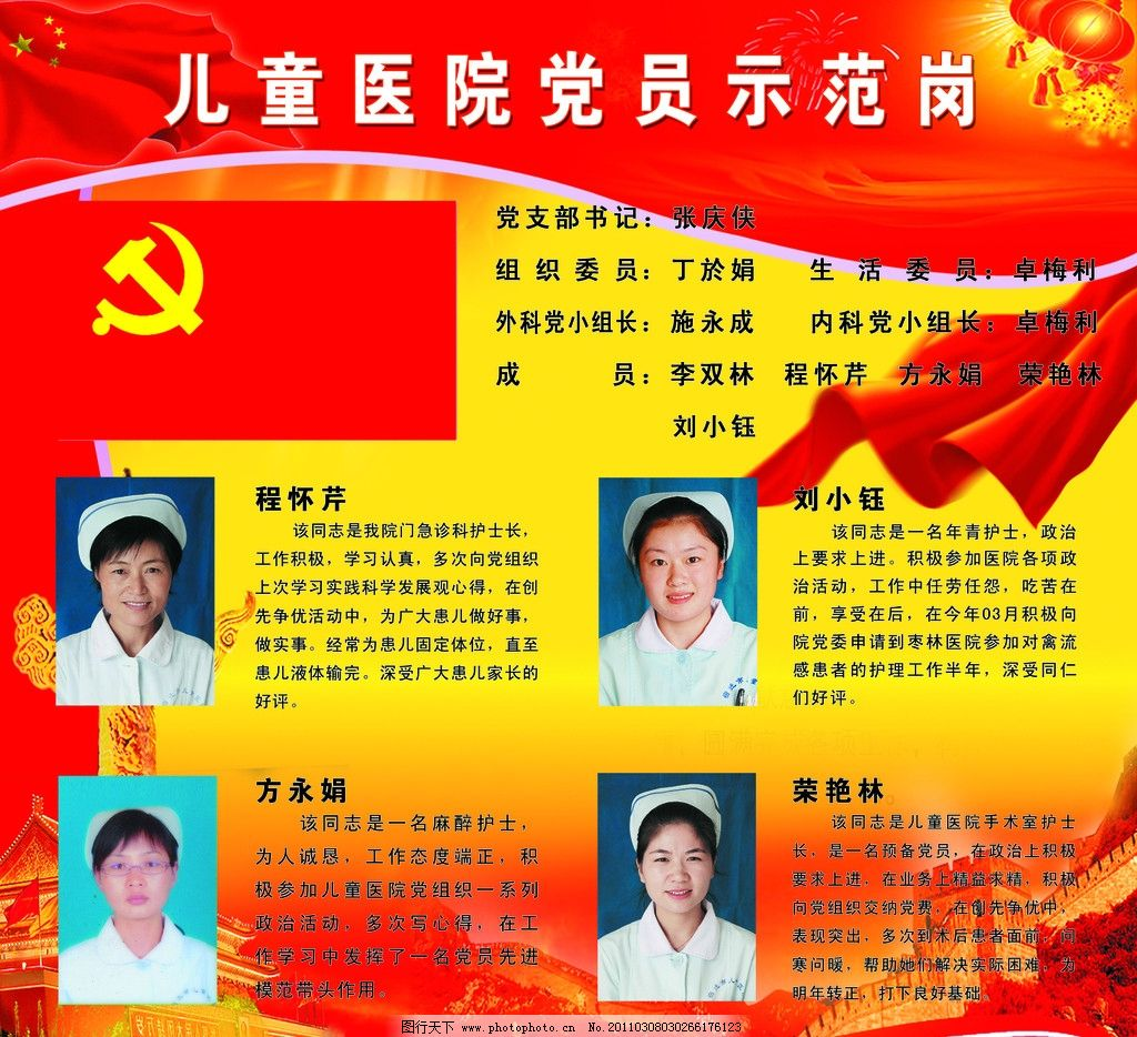 党员示范岗 党员展板 红色背景 制度 党旗 医院 模范 展板模板 广告
