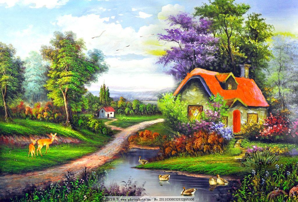 油画 油画山水 风景画 风景油画 装饰画 壁画 手绘 流水 河流 碧水 树
