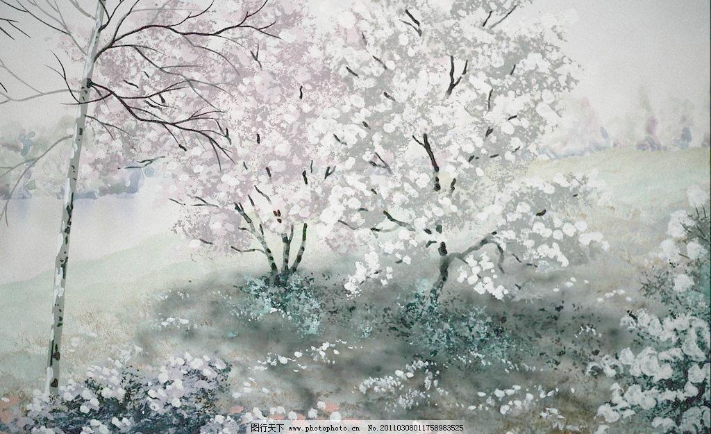 水彩画图片_山水风景画_装饰素材_图行天下图库