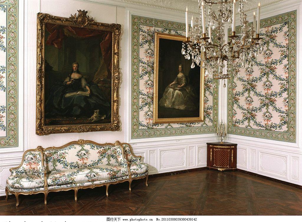 欧式建筑 画廊 客厅 油画 画框 沙发 皇宫 宫殿 雕塑 尊贵