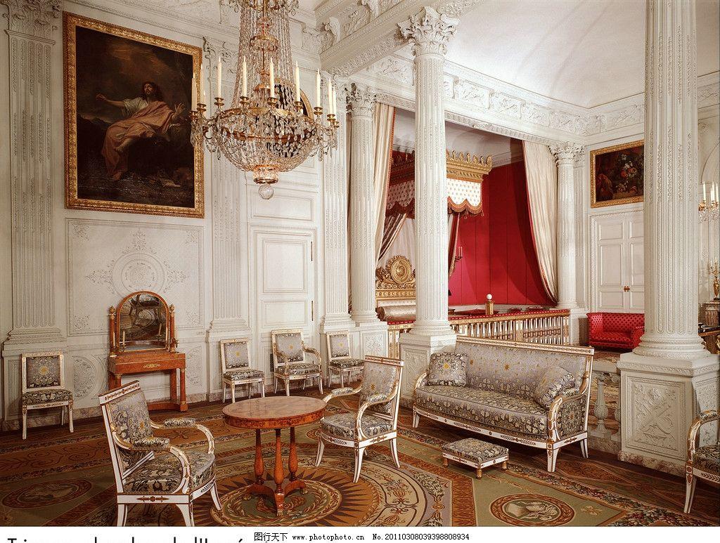 欧式建筑 室内高清图片 客厅 油画 画框 装饰品 柱子 皇宫 宫殿