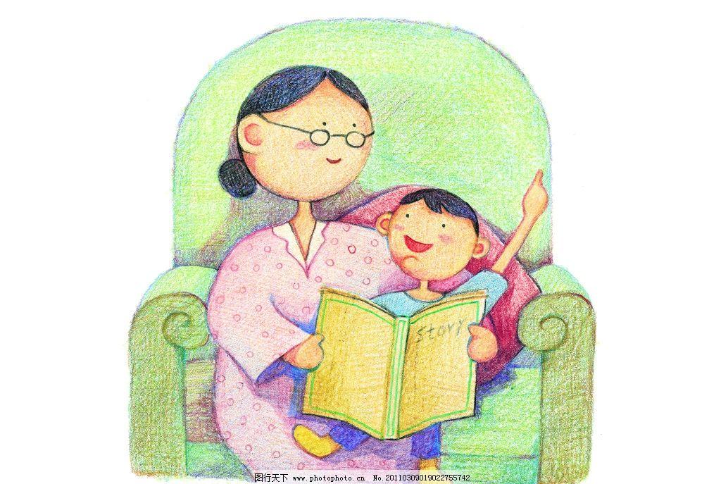 教育蜡画 读书 老师 教育 母子 妈妈 小孩子 绘画书法 文化艺术 设计