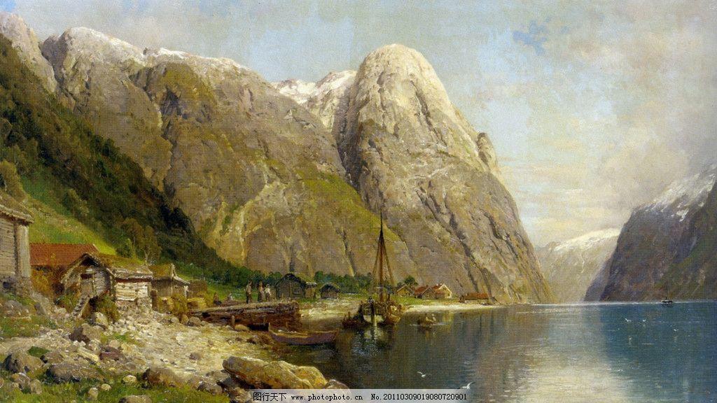 山间河流 世界名画 西洋油画 人 风景 河边 岸边小房 船 建筑