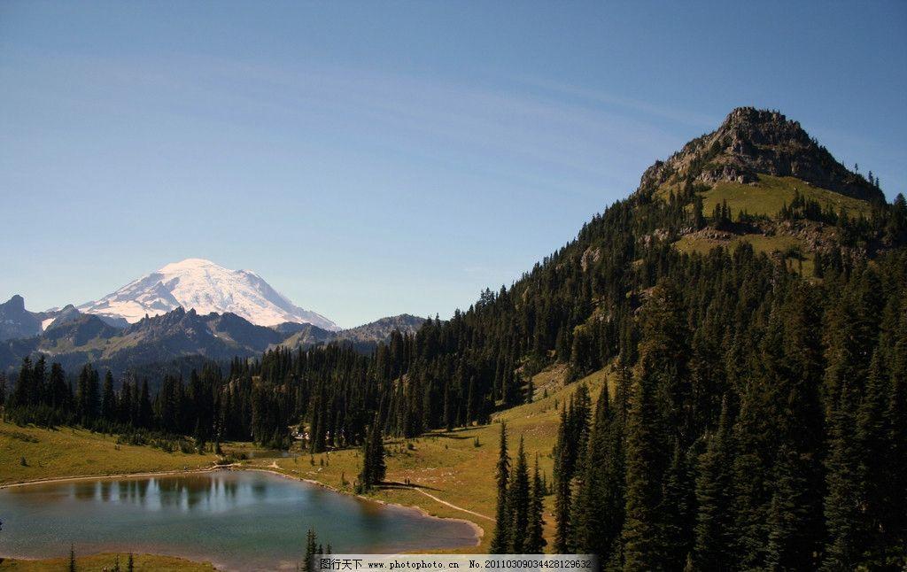 群山 湖泊 树林 美丽风光 风光图片 山川景色 山水风景 自然景观 摄影