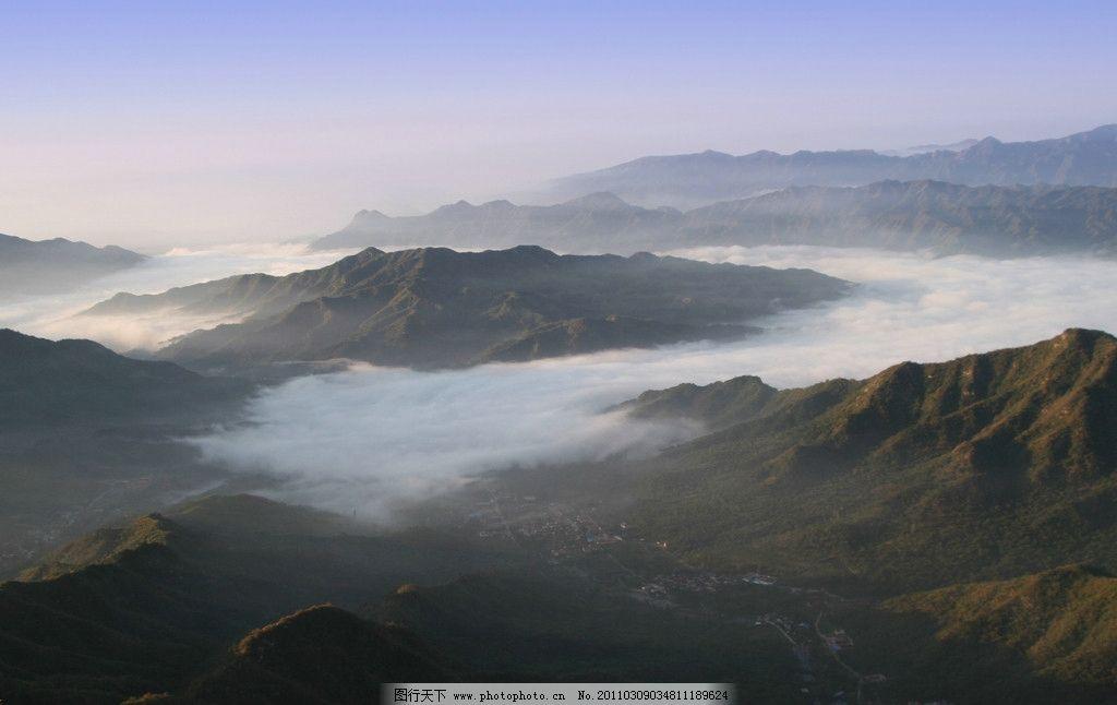长城慕田峪 云 山 云海 清晨 蓝天 朦胧 雾气 阳光 自然风景 自然景观