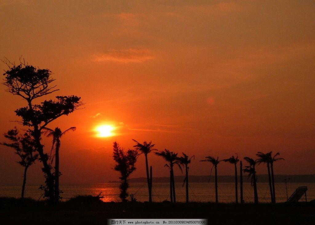日落 夕阳 晚霞 树荫 太阳 云 日照 大海 海岸 沙滩 椰树 自然风景