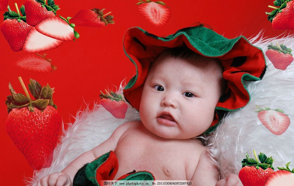 草莓宝宝 可爱 快乐 宝宝 小孩 小姑娘 幼儿 生日照 西瓜装 可爱宝宝