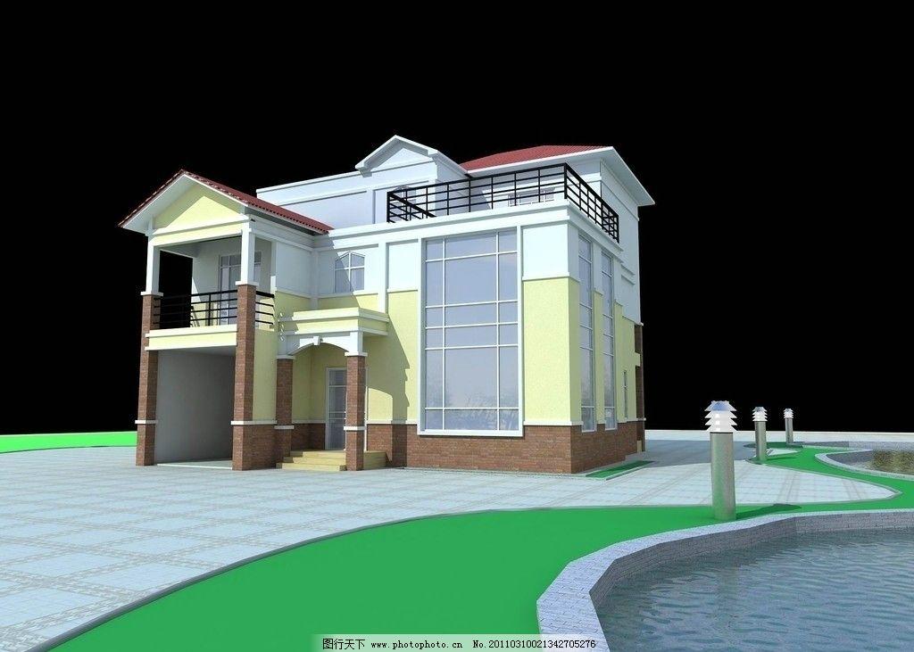 別墅室外效果圖 別墅 室外        3d 3dmax 水 墻 燈 室外模型 3d