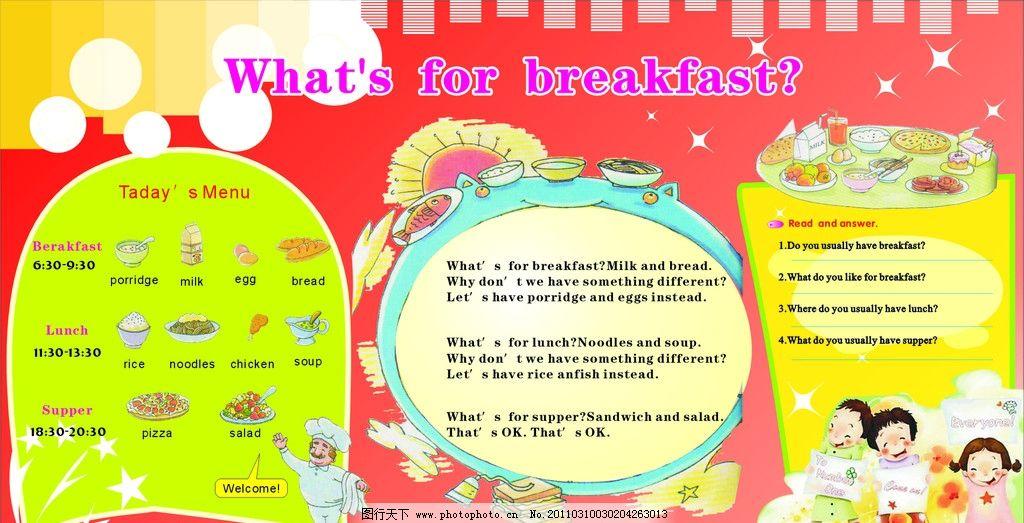吃的英文_英文展报 星星 吃的食物 可爱的小孩子 学校展报 学校宣传栏 展板模板