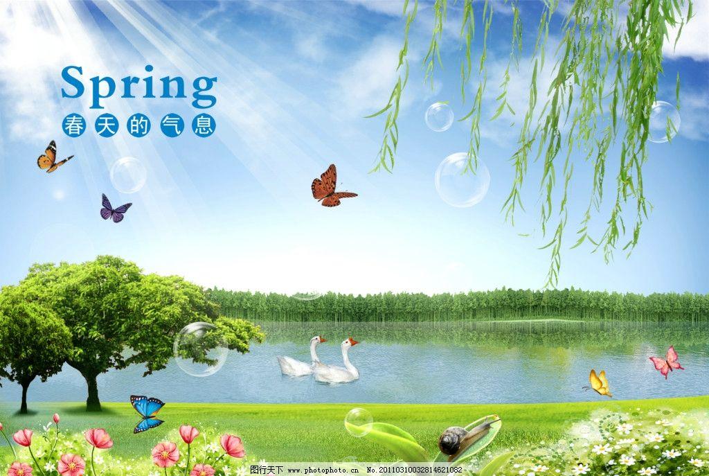 春天的气息 蓝天 白云 阳光 气泡 蝴蝶 花朵 垂柳 嫩芽 树林 湖泊 鹅