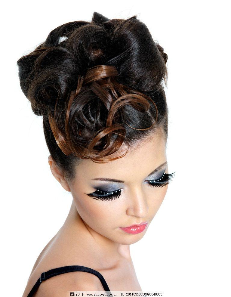 时尚美女发型秀发发型明亮眼睛嘴唇端庄优雅美女发型剪发头发