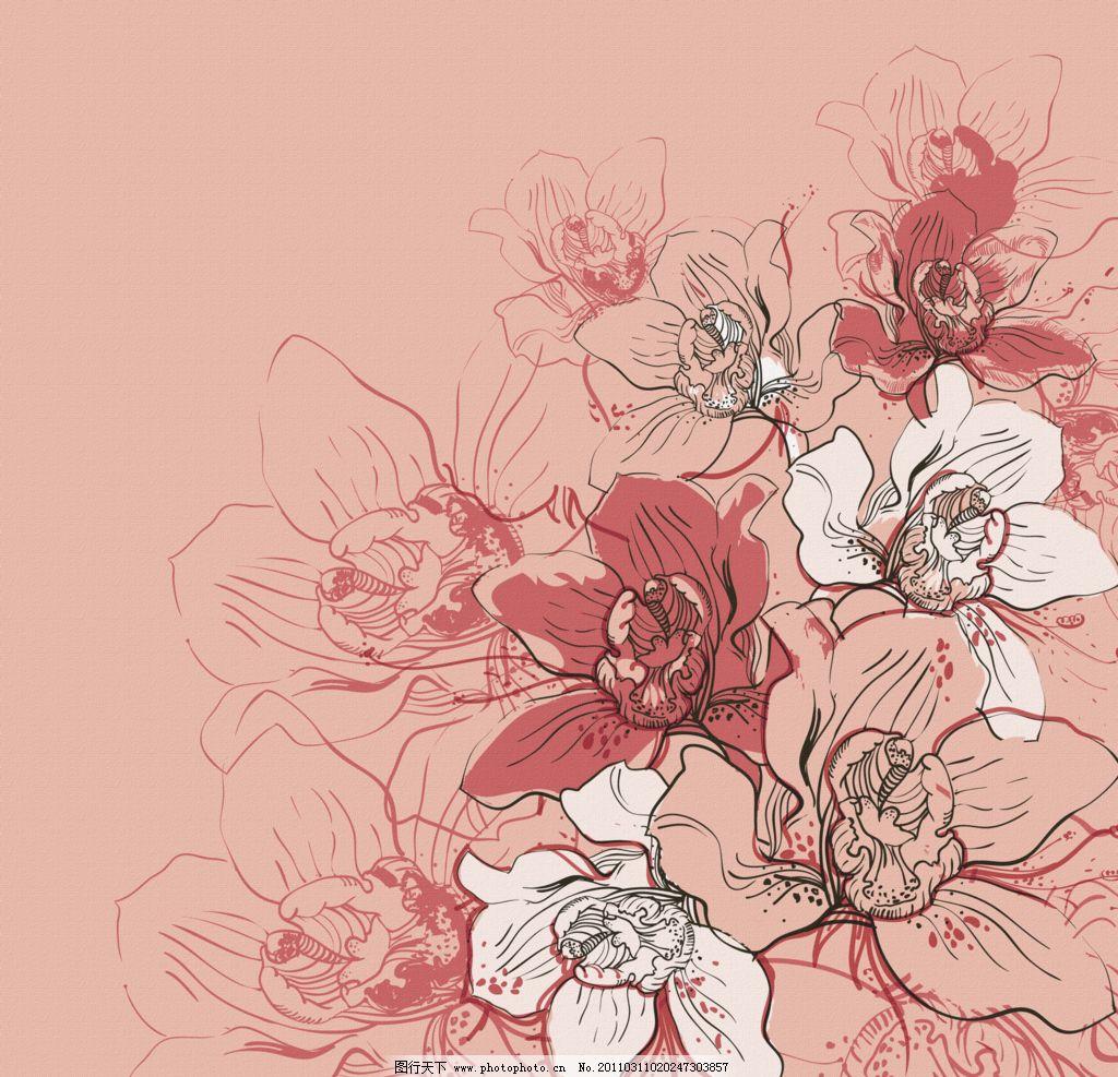 花纹底纹 花卉 花纹 底纹 手绘花纹 手绘花卉 无框画 唯美背景墙 背景