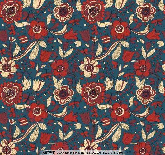 欧式花纹背景 花边 花卉 花朵 平铺 二方连续 四方连续 布纹