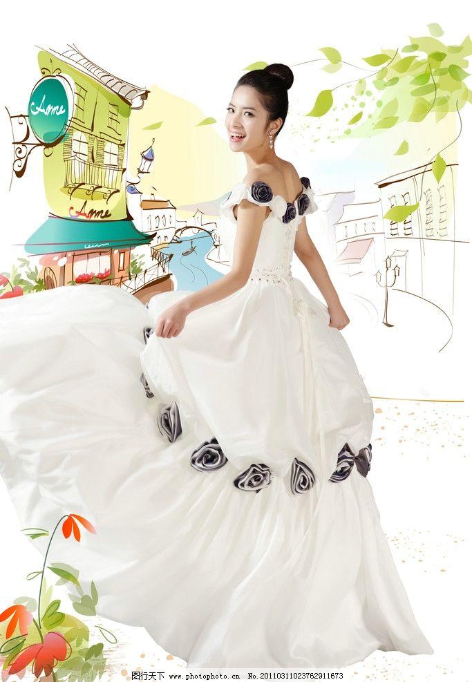 婚纱人物 婚纱 模特 美女 手绘 婚纱照片 女性妇女 人物图库 设计 350