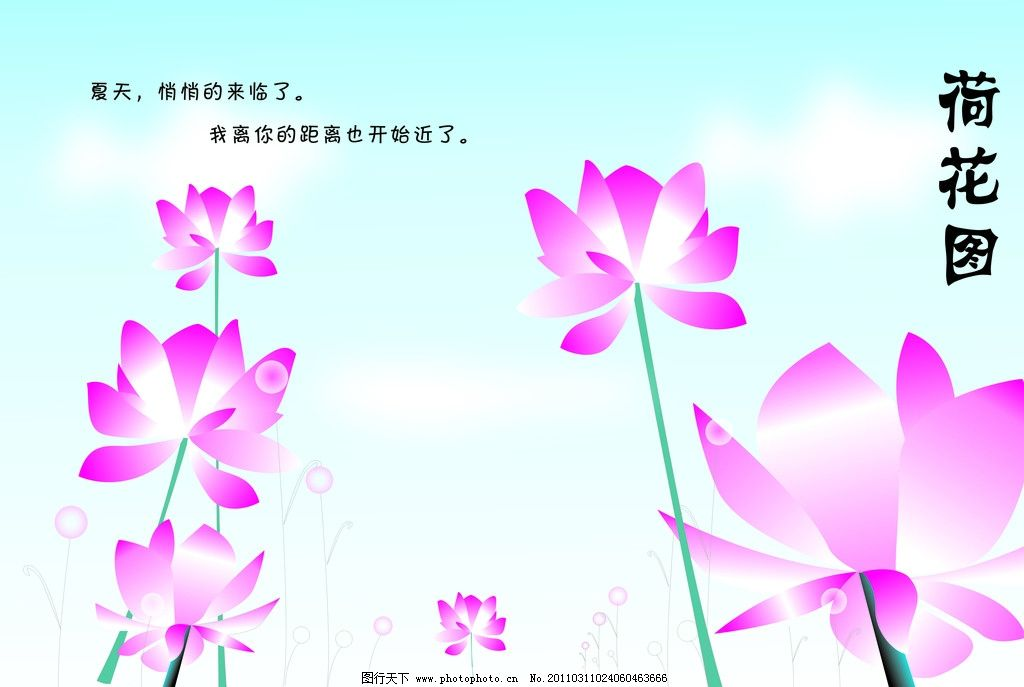 手画荷花图 荷花 线条 卡片 夏天 云 自然风景 自然景观 矢量 cdr