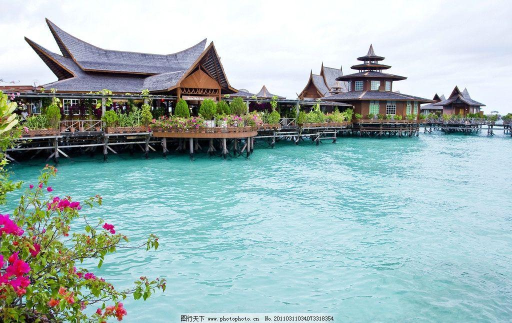 沙巴海景风光 度假小屋 建筑 植物 海水 马来西亚 国外旅游 旅游摄影