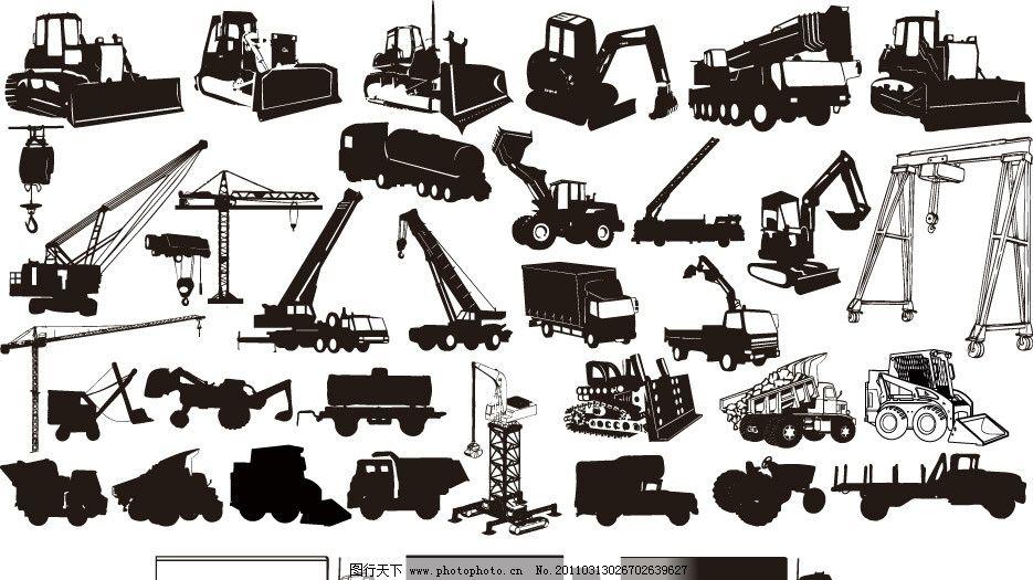 工程建设建筑机械剪影 (含ps的形状向量csh)图片