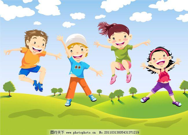 跳跃小孩免费下载 草地 跳跃小孩 草地 矢量 矢量图 矢量人物