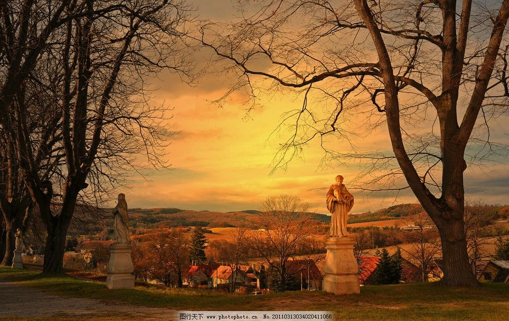 维也纳森林景观 国外风景 雕塑 雕像 维也纳人文风景 黄昏 树木