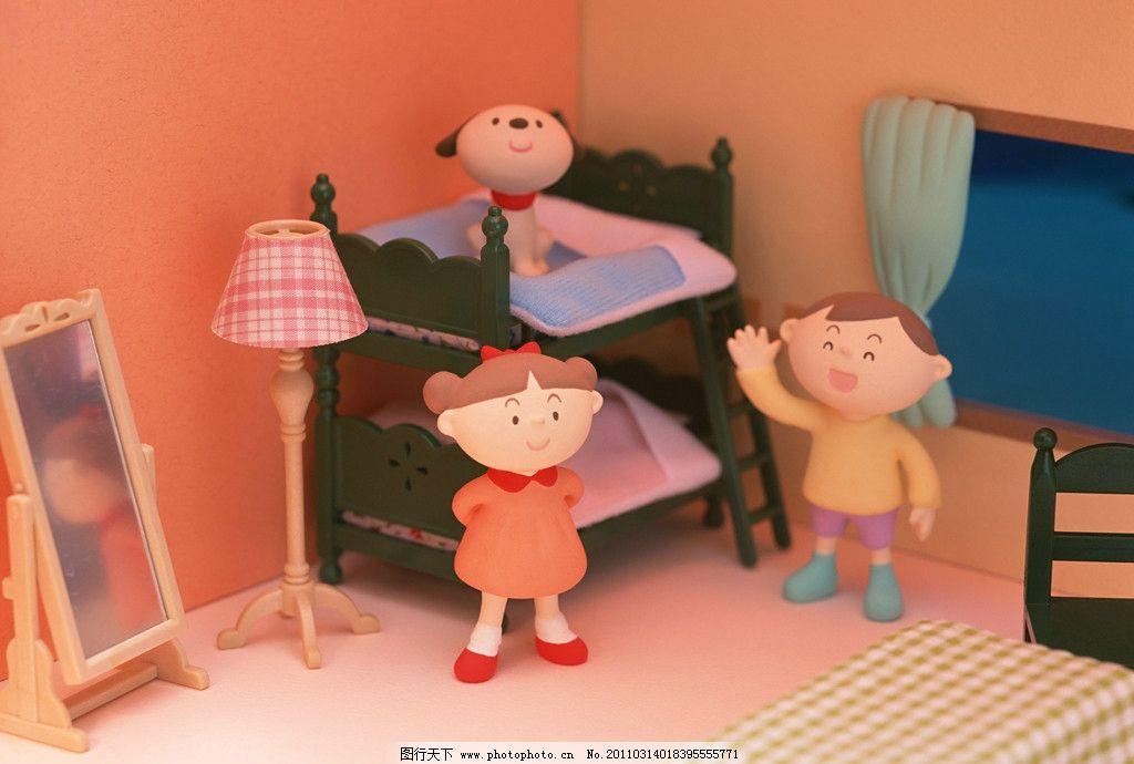 快乐家庭 泥塑 卡通人物 双层床 儿童房 动漫人物 动漫动画 设计 350