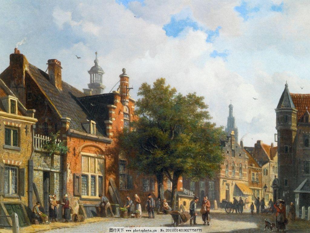小镇风景 风景 小镇 瓦房 阁楼 行人 世界名画 绘画书法 文化艺术