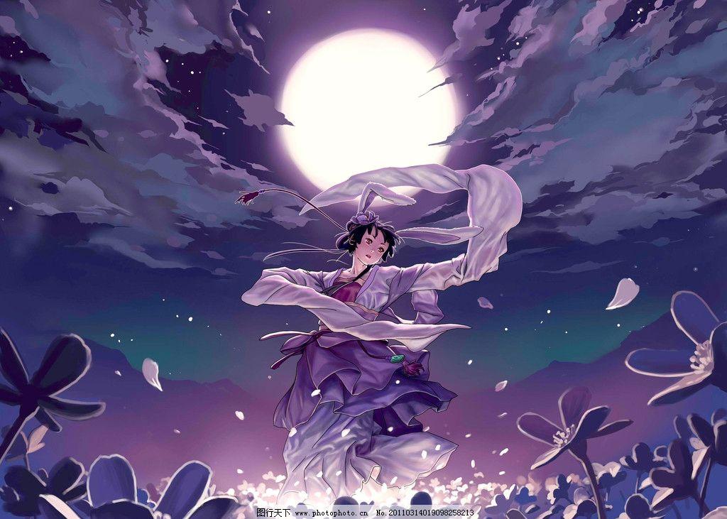动漫插画 美术 绘画 水粉画 卡通女孩 少女 姑娘 动作 表情 姿态 花卉