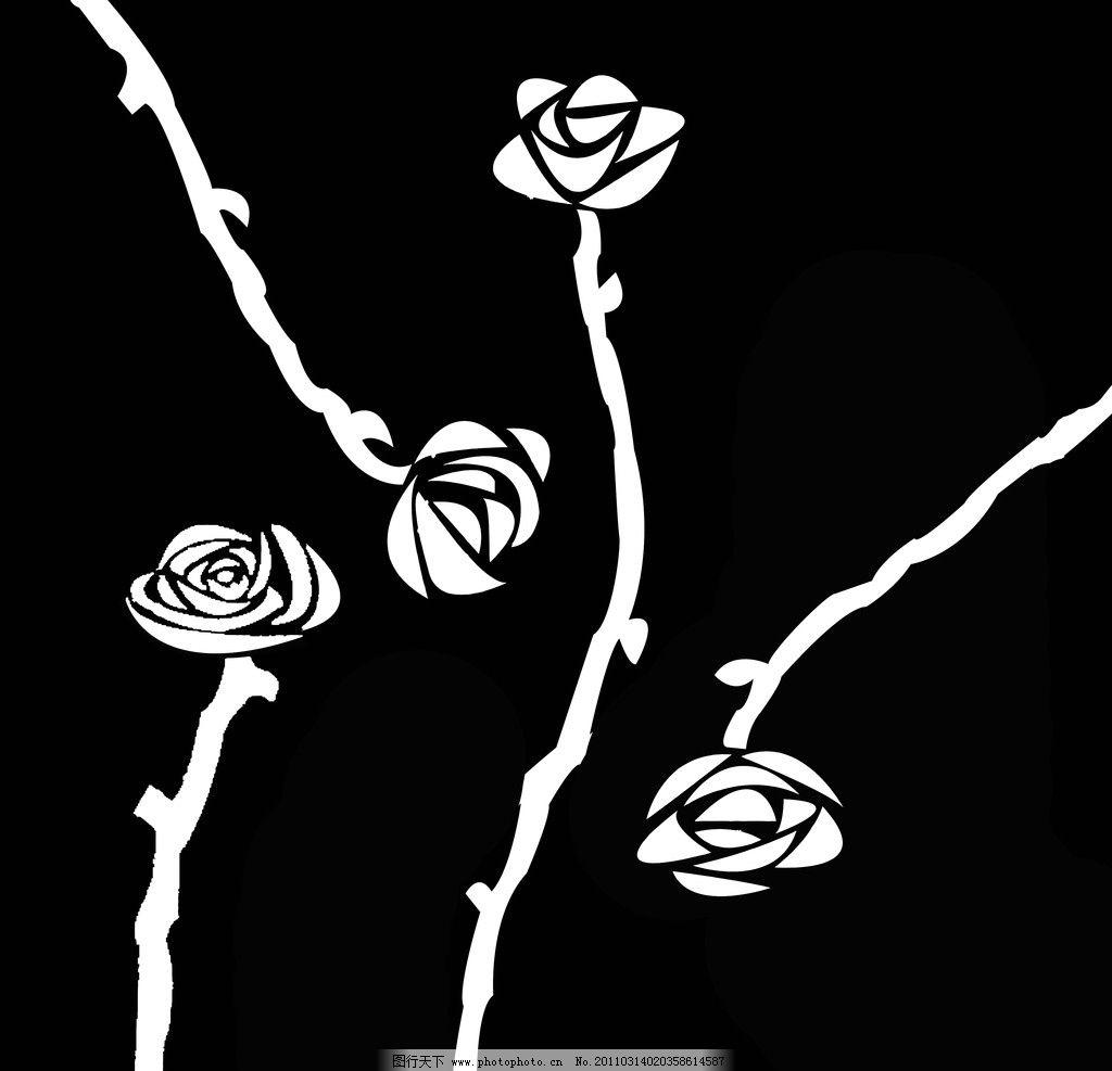 玫瑰 黑白植物 黑白花纹 简单花纹 花边花纹 底纹边框 设计 72dpi jpg
