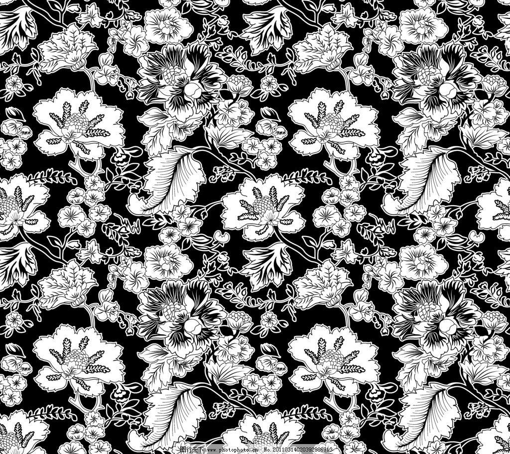 花纹图 大花 南方花 古典花纹 黑白花纹 花边花纹 底纹边框 设计 300