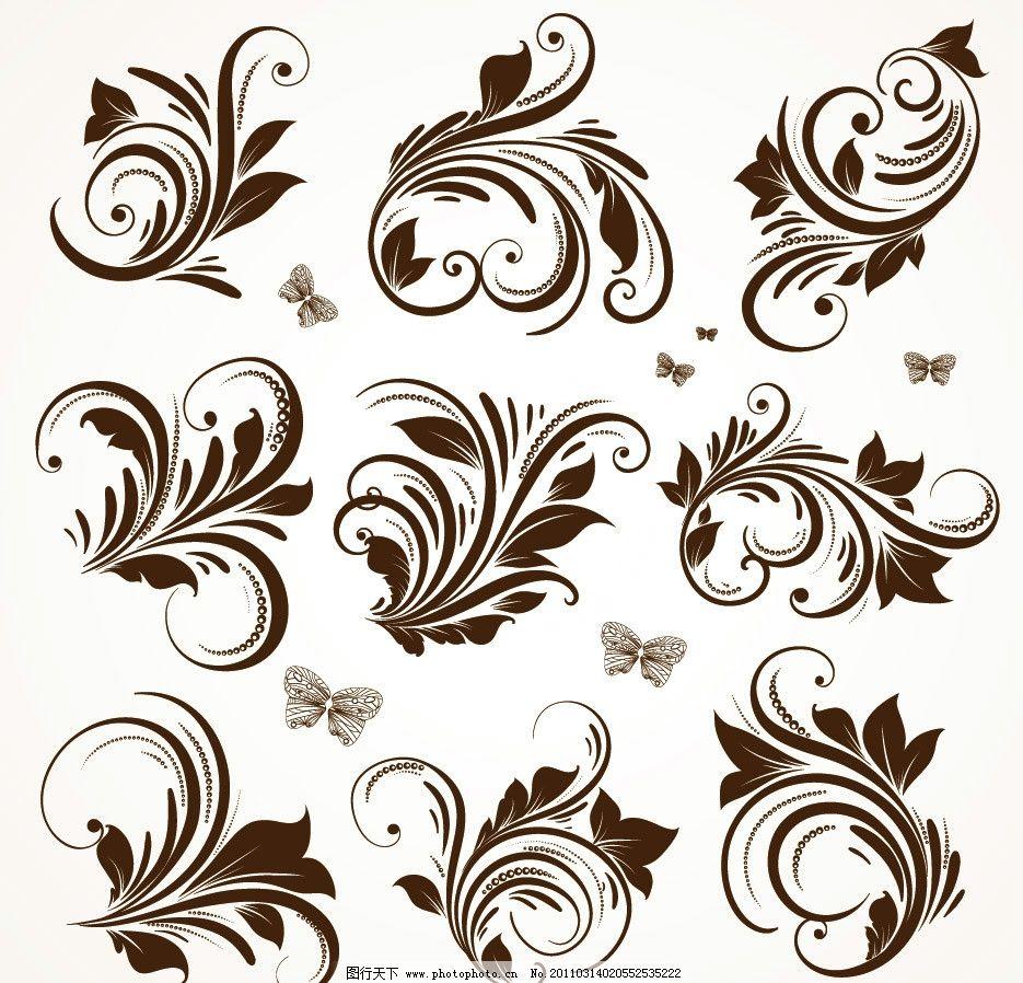 古典花纹花边装饰设计矢量图片