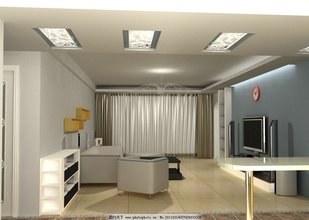 客厅效果图 室内 现代简约风格