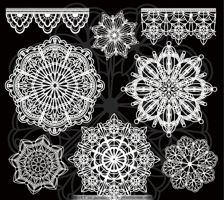 黑白线条古典花纹花边装饰设计素材图片