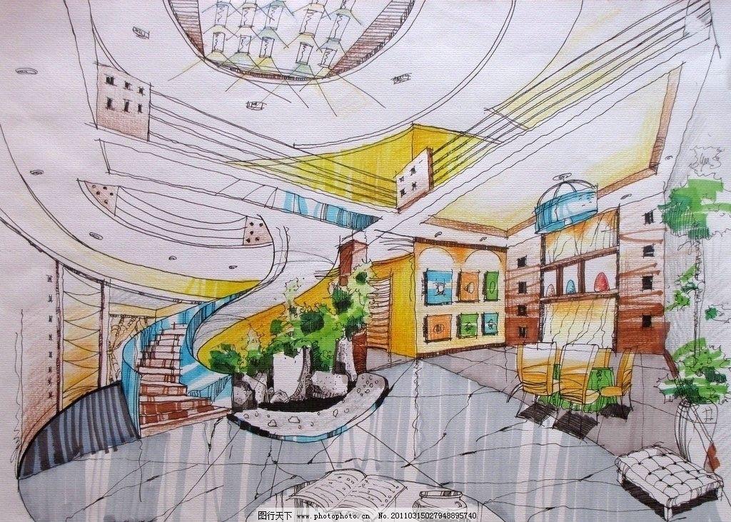 大厅 室内大厅手绘图 室内设计