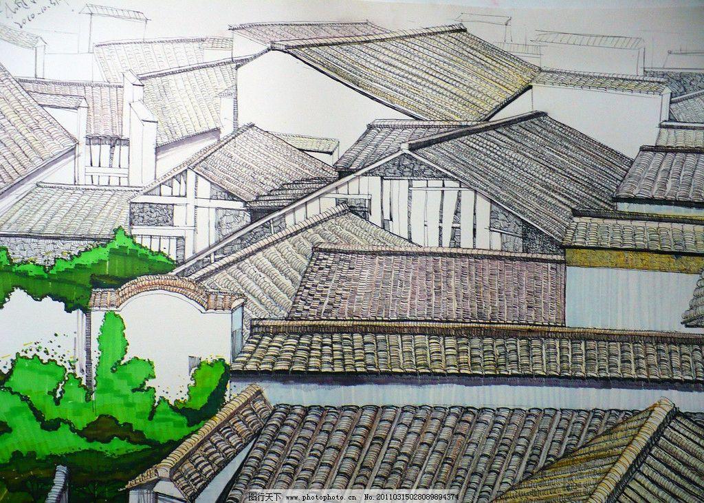 徽州 徽州屋顶手绘图