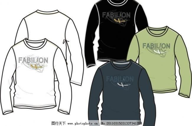 男装长袖t恤款式 广告设计 其他设计 男装款式 矢量 淘宝素材