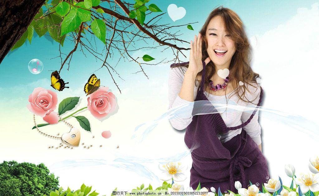 美女 天空 白云 蓝天 树木 叶子 花 蝴蝶 气泡 草地 广告设计 素材