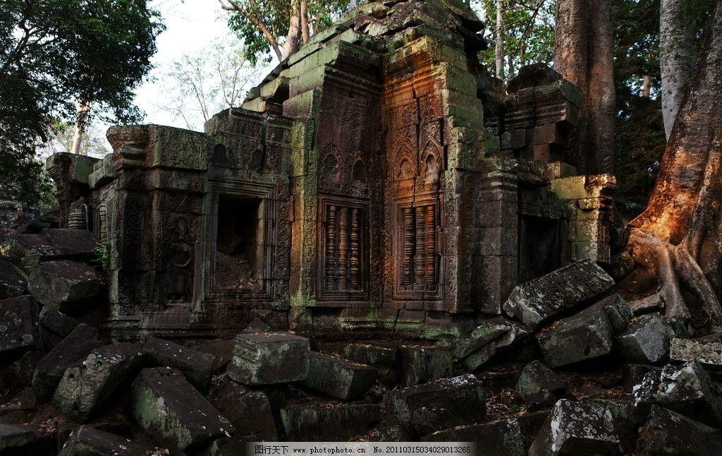 柬埔寨风景 东南亚 古老 废墟 世界旅游景点 岩石 雕刻 佛像