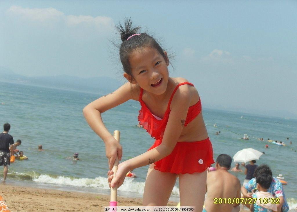 沙滩女孩 女孩 大海 沙滩 夏日 海边 儿童幼儿 人物图库 摄影 96dpi