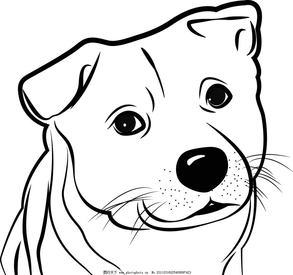 小狗黑白矢量图图片
