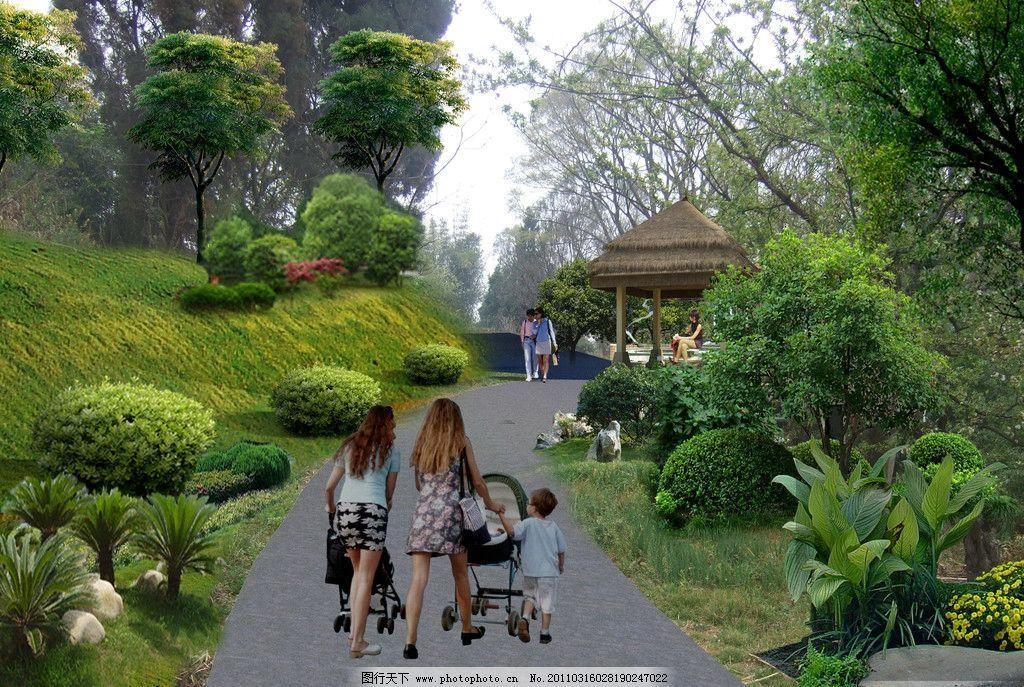 山庄入口景观 亭子 护坡 景观石 苗木造景 色彩搭配 山庄景观效果