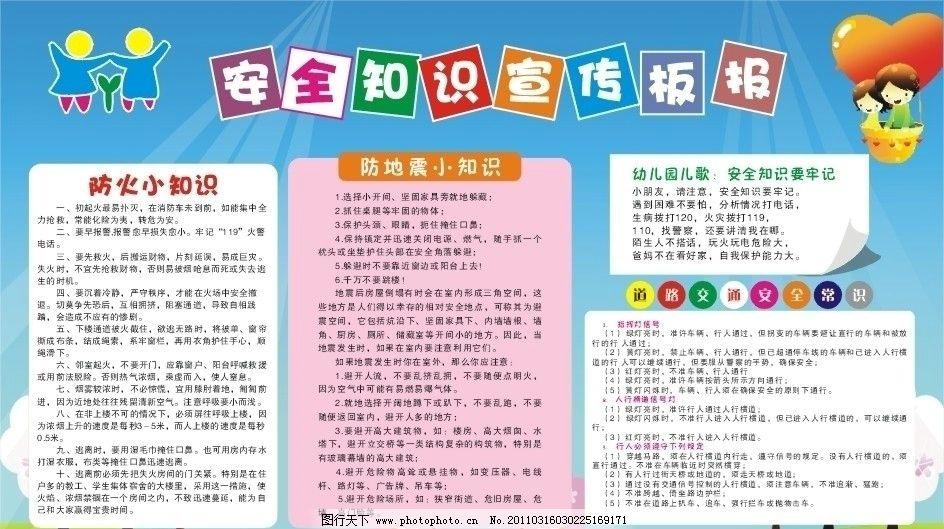 安全宣传 幼儿园 防震 防火 交通安全 幼儿歌 小孩 展板模板 广告设计