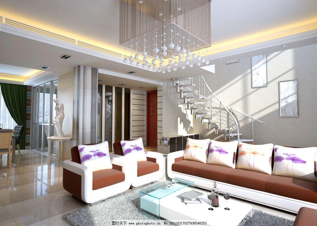 客厅效果图      吊灯 楼梯 灯光 室内设计 环境设计 设计 300dpi jpg