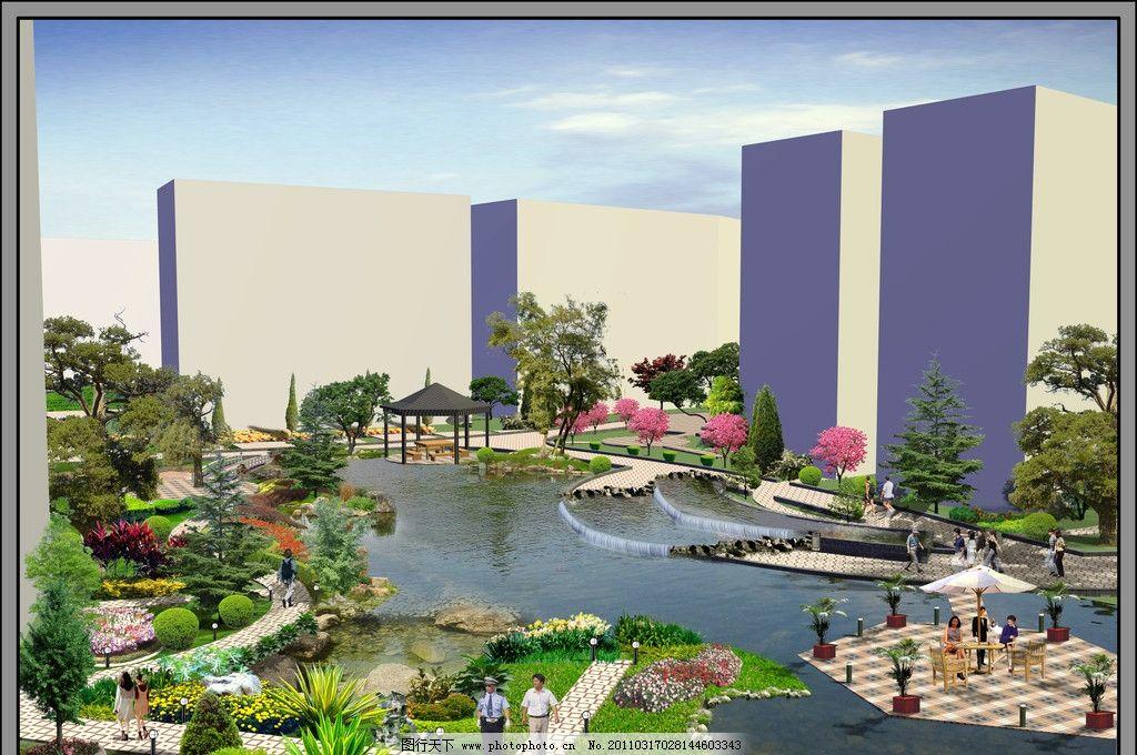 中心水景效果图图片_景观设计_环境设计_图行天下图库