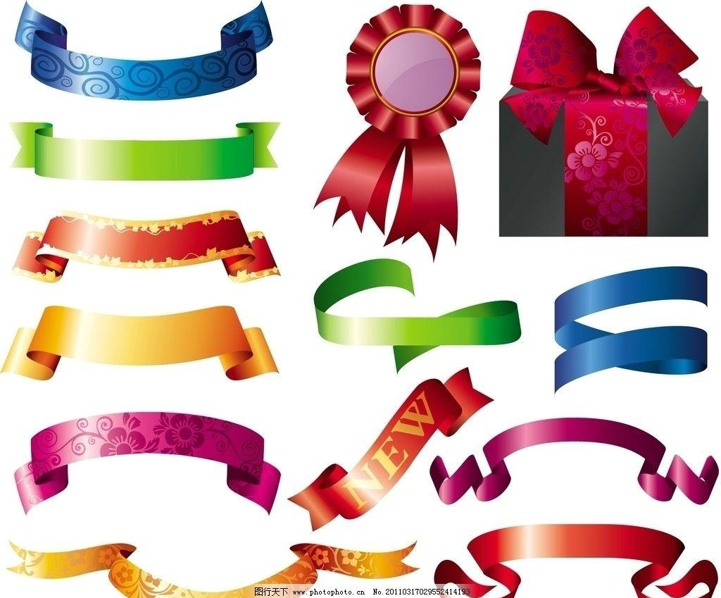 丝带横幅 金色 红色 蝴蝶结 礼盒 标签 装饰品 条幅 花纹矢量图