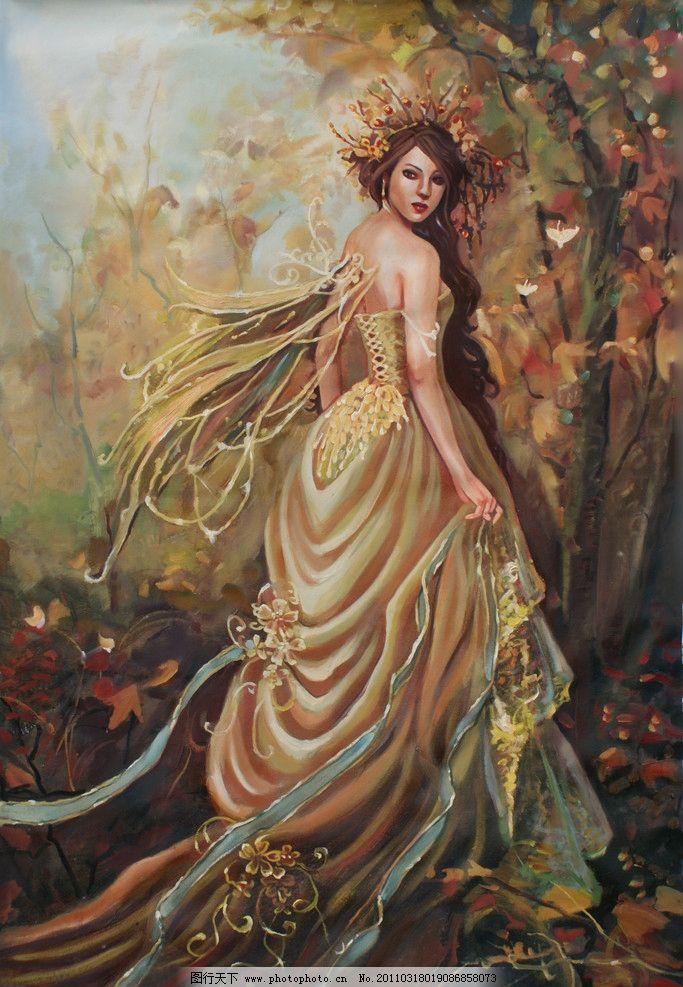动漫人物 人物油画 美少女 动漫美女 森林 草地 花朵 油画人物 婚纱