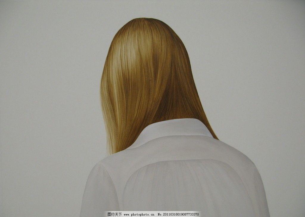 人物水彩画 背影 金发 白上衣 半身像 水彩画 细腻 绘画书法 文化艺术
