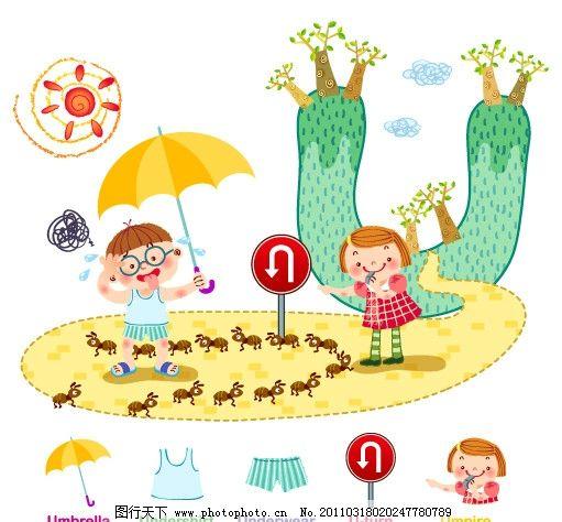 韩国幼儿园环境布置图片插画