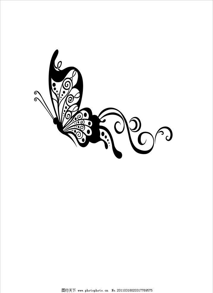 蝴蝶花稿图片,黑白 矢量 花纹花边 底纹边框-图行天下