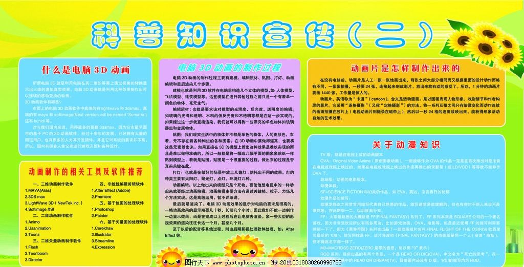 绿色 黄色 底纹 向日葵 草地 花朵 科普知识 展板模板 广告设计模板